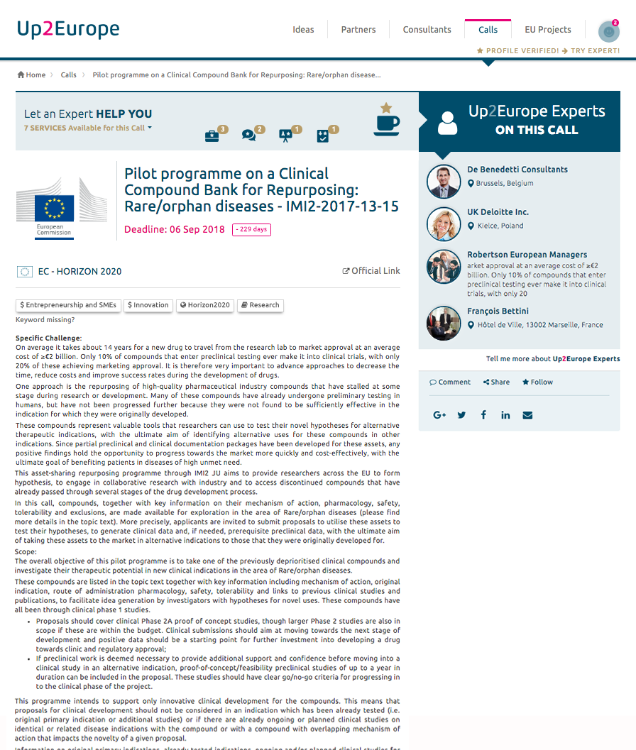 Expert panel on Call for proposal Page :: Up2Europe platform