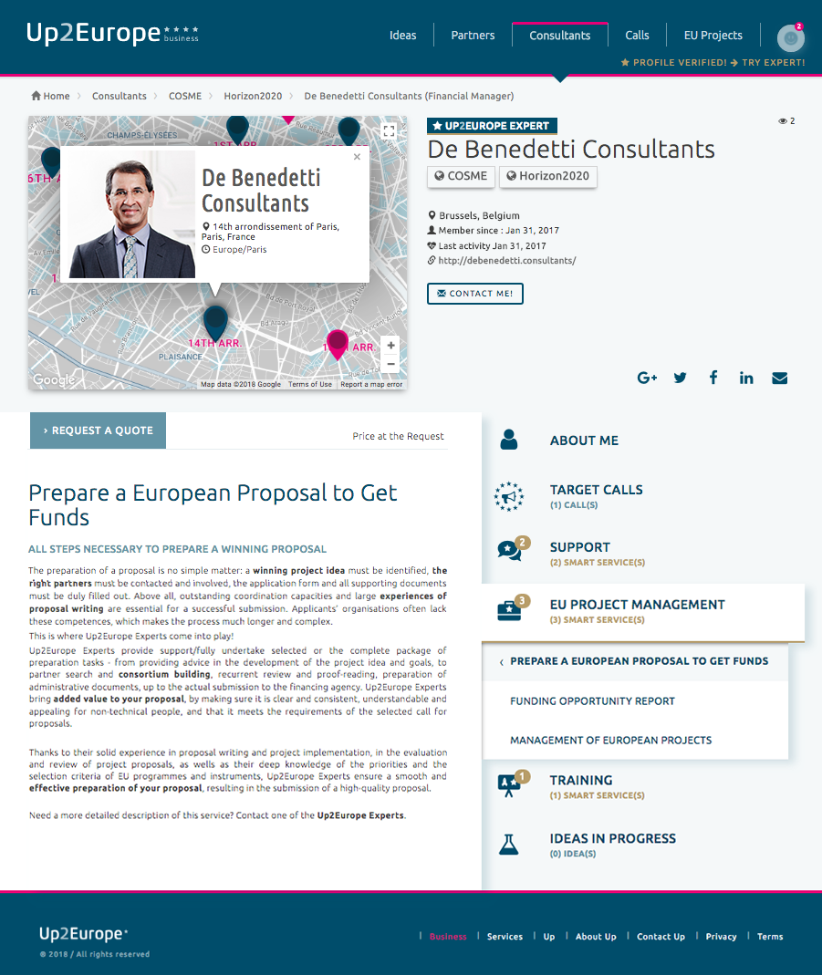Expert Profile Page:: Up2Europe platform