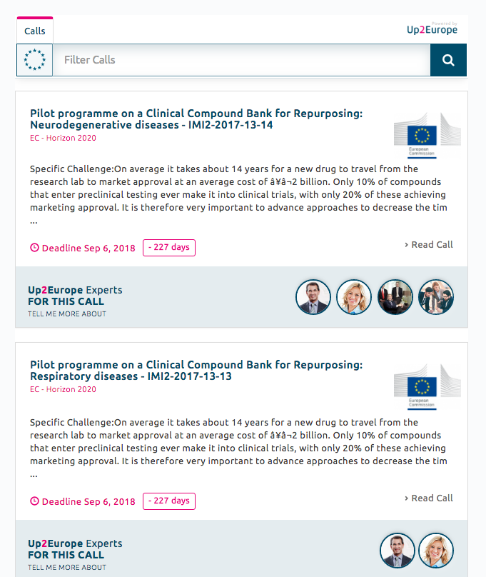 Experts visible in the widget:: Up2Europe platform